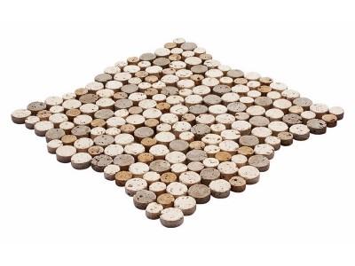 Round Mozaikler 2,5 X 2,5 CM - 1,9 X 1,9 LIGHT-NOCHE-YELLOW MIX TRAVERTINE