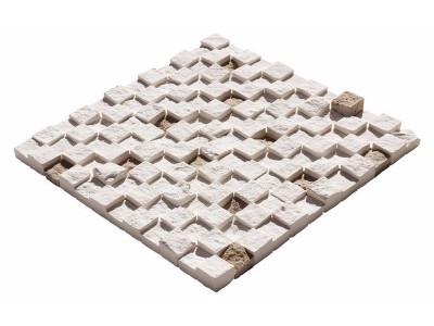 Yüzey Patlatma Küp Mozaikler  LIMESTONE-NOCHE MIX K-157